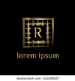 Golden Net Vector Logo Design Letter R Striped Frame