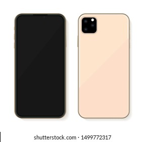 Golden new mobile phone 2019 mockup isolated on white. Vector illustration
