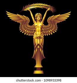 Golden Nica with a palm branch in the art deco style on a black background