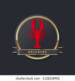 golden noble glossy delicacies or seafood vector lobster logo