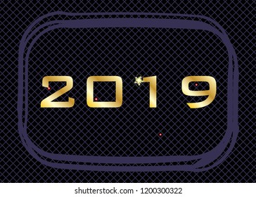 Golden  number for  2019 Happy New Year on the lattice black  purple background