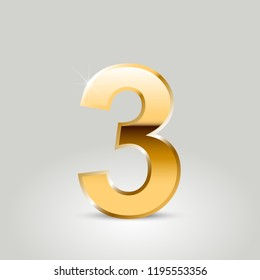 Golden number 3. Vector font isolated on white background