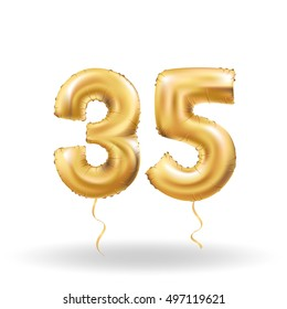 Golden number 35 thirty five metallic balloon. Party decoration golden balloons. Anniversary sign for happy holiday, celebration, birthday, carnival, new year. Metallic design balloon.