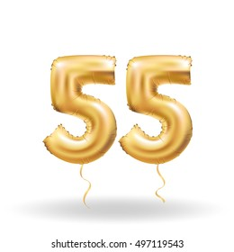 Golden Number 55 Fifty Five Metallic Balloon Party Decoration Balloons Anniversary Sign For