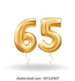 Golden number 65 sixty five metallic balloon. Party decoration golden balloons. Anniversary sign for happy holiday, celebration, birthday, carnival, new year. Metallic design balloon.