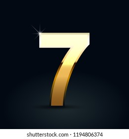 Golden number 7. Vector font isolated on black background