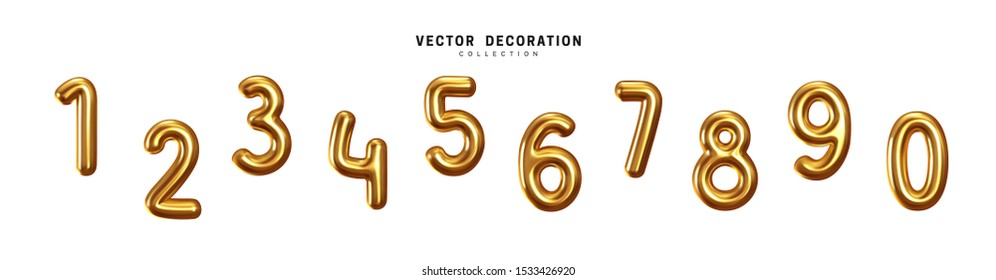 Golden Number Balloons 0 to 9. Yellow Volume 3d render numbers. Party, birthday, celebrate anniversary and wedding. Gold round font. Realistic design elements. Festive set isolated. vector