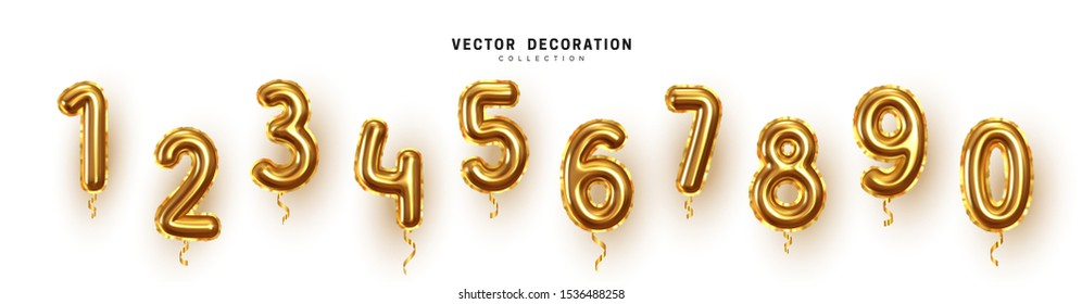 Golden Number Balloons 0 to 9. Foil and latex balloons. Helium ballons. Party, birthday, celebrate anniversary and wedding. Realistic design elements. Festive set isolated. vector illustration