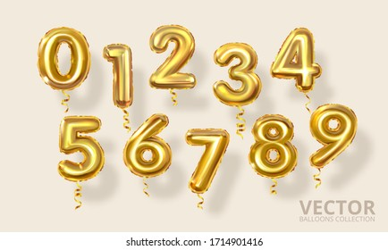 Golden Number Balloons 0 to 9. Realistic 3d render air balloon. Helium balloons. Party, birthday, celebrate anniversary and wedding. Realistic design elements. Festive set isolated. Vector illustratio