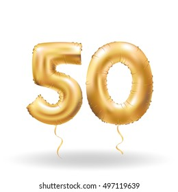 Golden number fifty metallic balloon. Party decoration golden balloons. Anniversary sign for happy holiday, celebration, birthday, carnival, new year. Metallic design balloon.