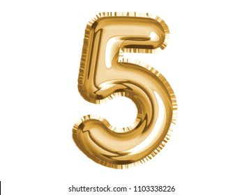 The golden number five air balloon for baby shower celebrate decoration party