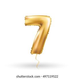 Golden number seven metallic balloon. Party decoration golden balloons. Anniversary sign for happy holiday, celebration, birthday, carnival, new year. Metallic design balloon.