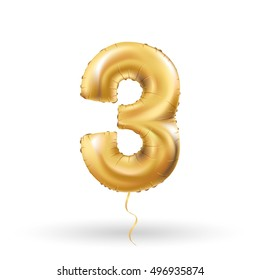 Golden number three 3 metallic balloon. Party decoration golden balloons. Anniversary sign for happy holiday, celebration, birthday, carnival, new year. Metallic design balloon.