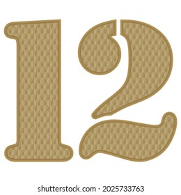 Golden Number Twelve With 3D Pattern Vector Illustration. Number 12 With Geometric Texture Isolated On White Background