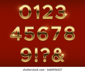 Golden numbers. Gold 3d figures, stylish celebrating font. Anniversary metal elements vector set