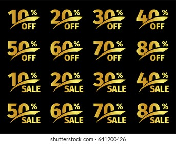 Golden numbers with percentage on a black background image. Promotional business offer for buyers logos. Percent off, sale of discounts in the strict style gold color symbol. Vector illustration