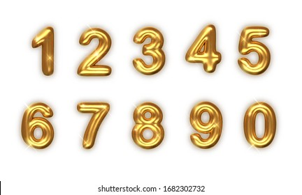 Golden numbers set. Vector realistic 3d illustration. golden font number 1,2,3,4,5,6,7,8,9,0. Decoration for banner, cover, birthday or anniversary party invitation design