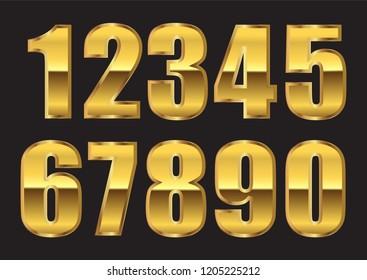 Golden numbers set.Vector gold numbers.