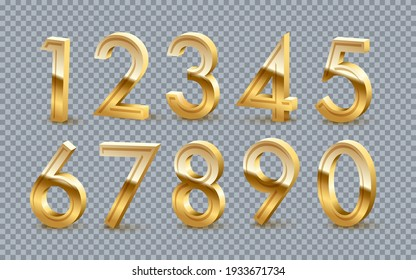 Golden numbers from zero to nine set on transparent background. Gold one, two, three, four, five, six, seven, eight, nine vector illustration. Colorful numerical signs design for date or anniversary.