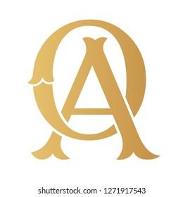 Golden OA monogram isolated in white.