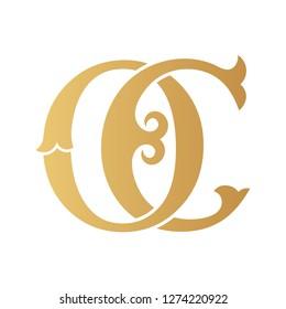 Golden OC monogram isolated in white.