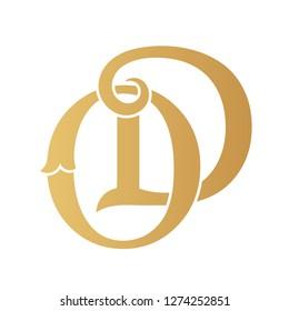 Golden OD monogram isolated in white.