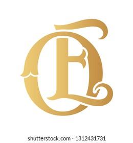 Golden OE monogram isolated in white.