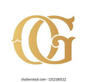 Golden OG monogram isolated in white.