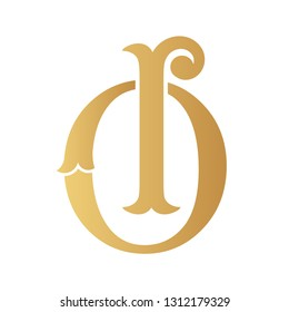 Golden OI monogram isolated in white.