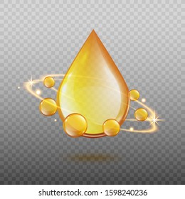 Golden oil drop with magic light energy swirl surrounded by sphere gold droplets. Realistic cosmetic essential oil or omega 3 vitamin ad element - isolated vector illustration