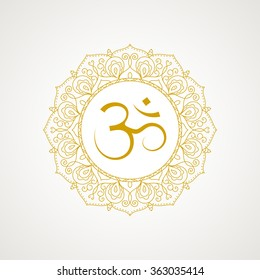 Golden om symbol. Gold lace frame. Vector isolated on white background. Spiritual icon in Indian religions. Mantra in Hinduism, Buddhism.