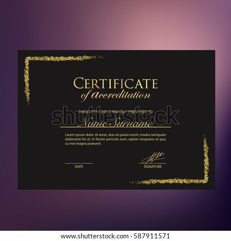 Golden On Black Certificate Accreditation Make Stock Vector (Royalty ...