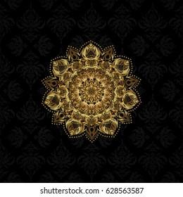 Golden on black. Isolated mandala logo. Business identity concept for bio, eco company, yoga or spa salon. Vector gradient premium logotype.