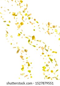 Golden on white foil holiday realistic confetti flying vector background. Chic flying tinsels, foil texture serpentine streamers, sparkles, confetti falling party background.