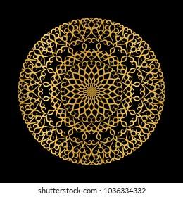 Golden openwork mandala on a black background.
