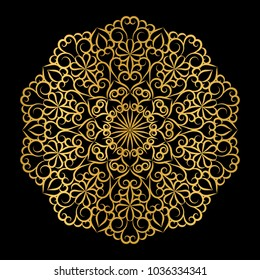 Golden openwork mandala on a black background.