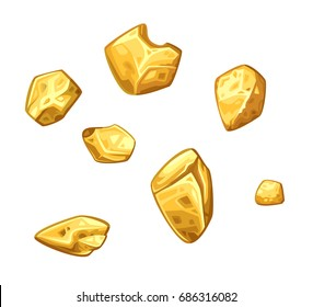 Golden ore set. Vector illustration