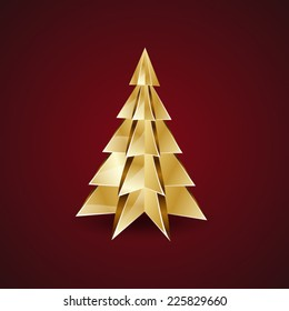 golden origami christmas tree