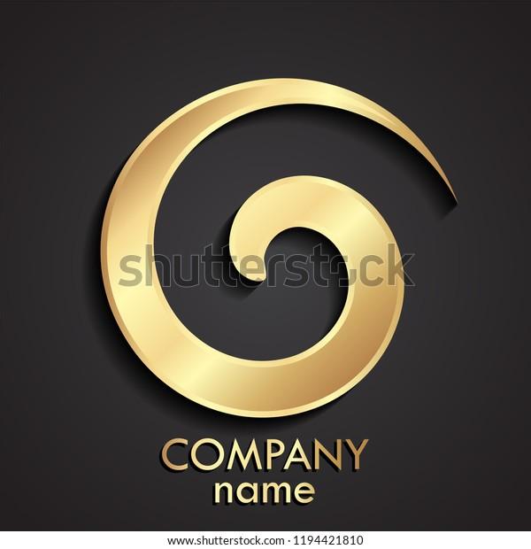 Golden Ornament Vortex Logo Stock Vector (Royalty Free
