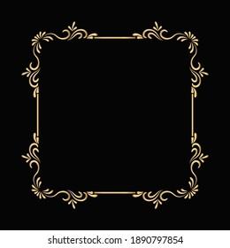 Golden ornamental frame design vector