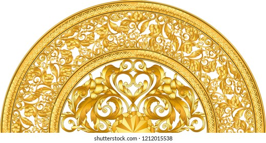 golden ornamental half segment on white