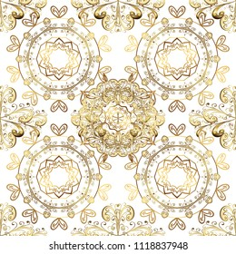 Golden ornamental pattern on white, beige and brown colors with golden elements. Ornamental vintage pattern on white, beige and brown colors with golden elements. Christmas, snowflake, new year.