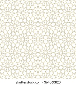Golden ornamental seamless pattern. Vector illustration.