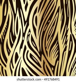 Golden ornamental  vector background. Hand drawn, waves background.