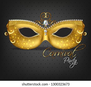Golden ornamented mask Vector realistic. Stylish Masquerade Party. Mardi Gras card invitation. Night Party Poster. Dance Flyer. Musical festival banner templates