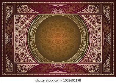 Golden ornate art deco vintage card