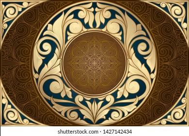 Golden ornate decorative vintage design