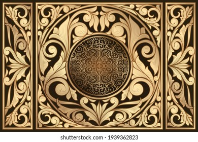 Golden ornate decorative vintage design card
