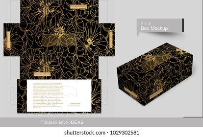 Golden outline floral pattern on tissue box. Tissue box template concept, template for Business Purpose, Place your text and logos and ready to go for print.