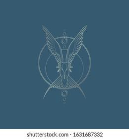 Golden outline flying Arctic tern on blue background. Vector illustration.